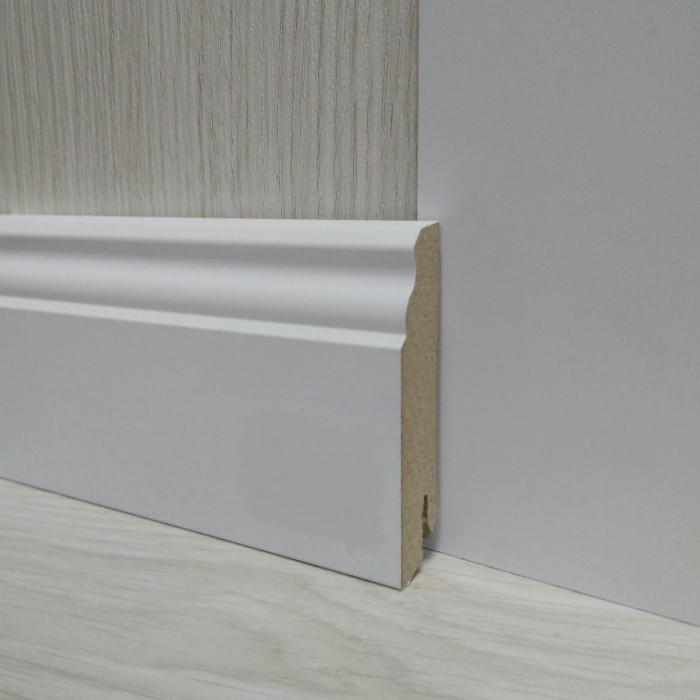 Плінтус МДФ білий фігурний 18х80х2400мм., Pedross Італія