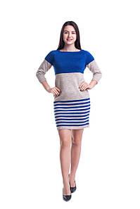 Вязаное двухцветное платье 44, 46, 48 размеры 4цвета