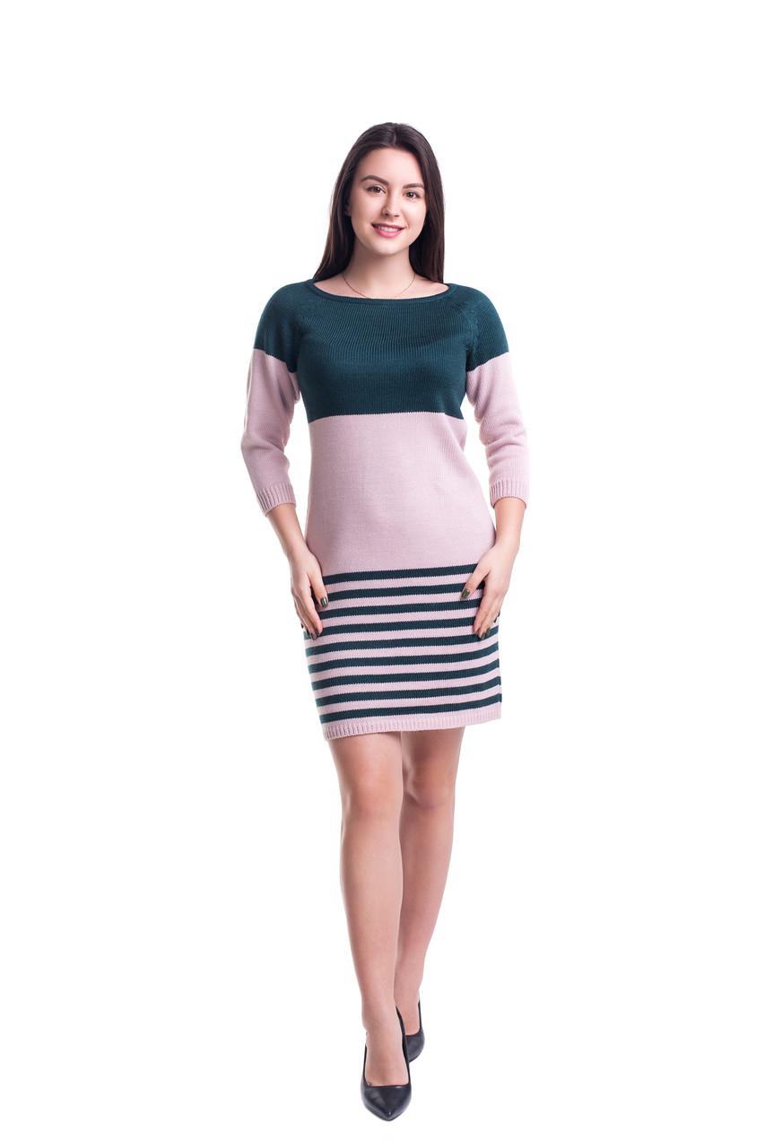 617c8a13320 Вязаное двухцветное платье 44