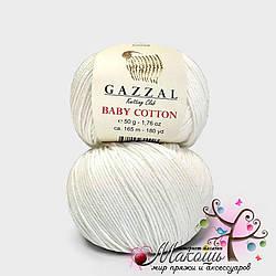 Пряжа Baby cotton Gazzal (Бэби коттон Газал), 3410, молочный