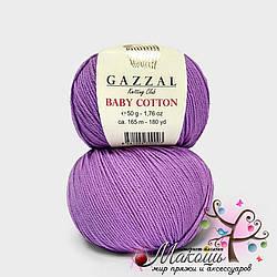 Пряжа Baby cotton Gazzal (Бэби коттон Газал), 3414, сирень