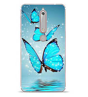 Бампер силиконовый чехол с принтом для Nokia 6 2018 Три бабочки