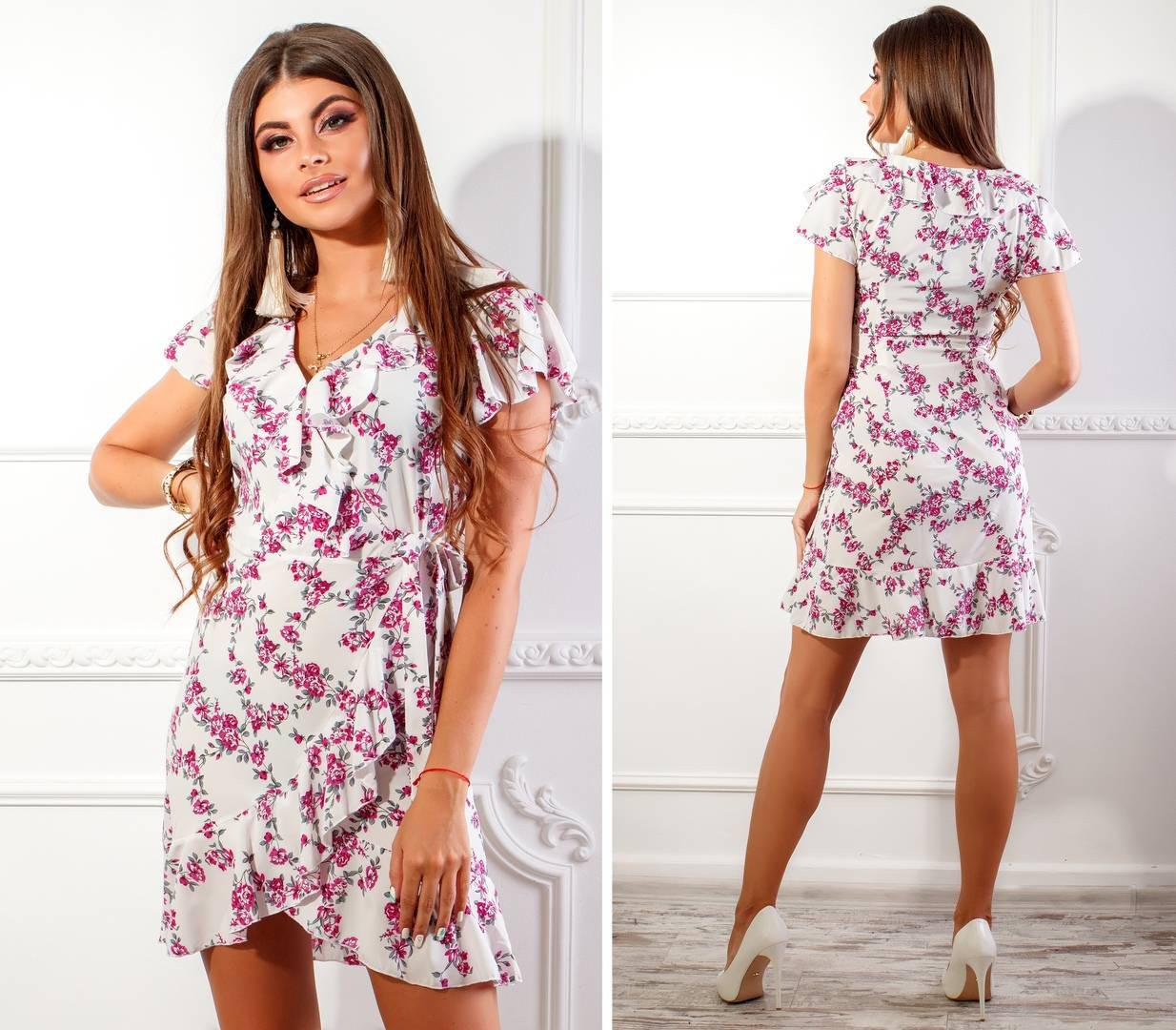Платье летнее на запах с поясом, новинка 2018, модель 115, принт - фолетовый мелкий цветок