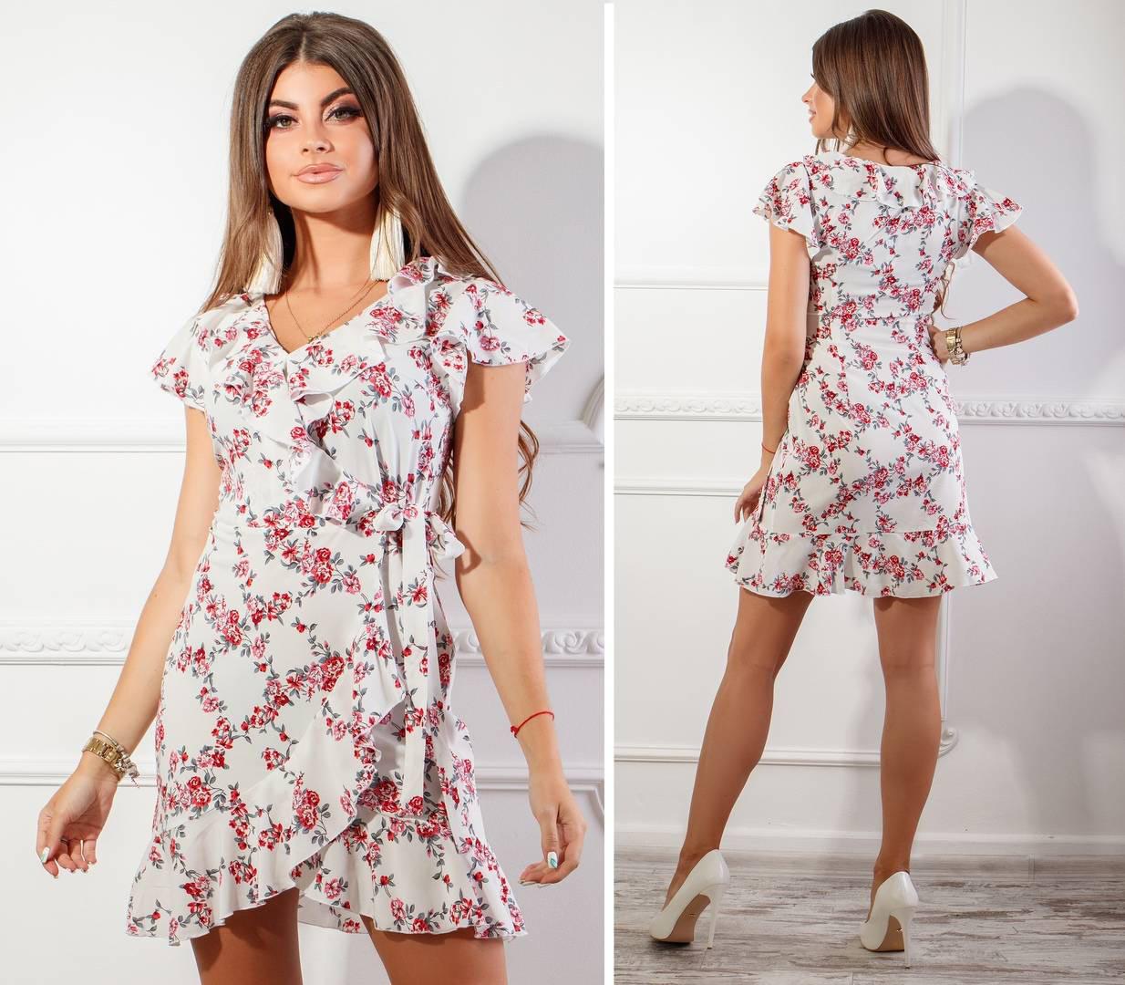 Платье летнее на запах с поясом, новинка 2018, модель 115, принт - красный мелкий цветок