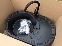 Чёрная врезная гранитная мойка для кухни AVANTI 780