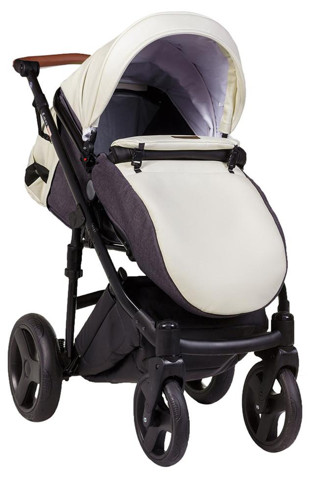 Детская коляска универсальная 2в1 Bair Leo кожа 100% G-35 слоновая кость (Беир Лео)