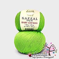 Пряжа Baby cotton Gazzal (Бэби коттон Газал), 3427, салат