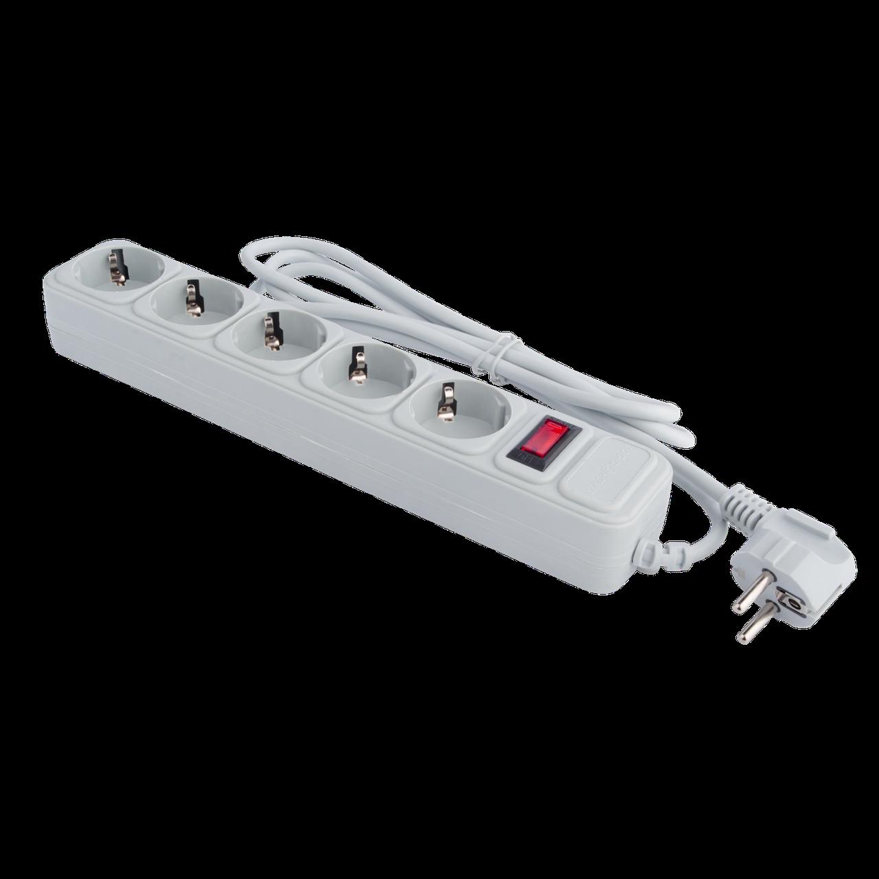 Сетевой электрический фильтр - удлинитель 5 розеток 1,8 м LP-X5, серый