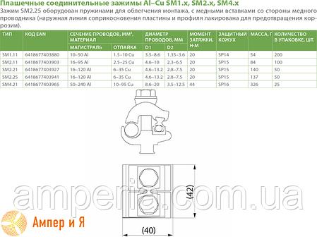 Зажим ответвительный плашечный SM2.21 Al(16-120) или Cu(6-35) ENSTO, фото 2