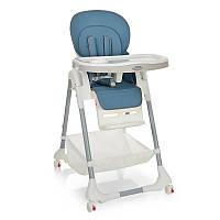 Стульчик для кормления M 3822-12,  5точ.ремни, столик выдв. 4колеса, кож.,голубой