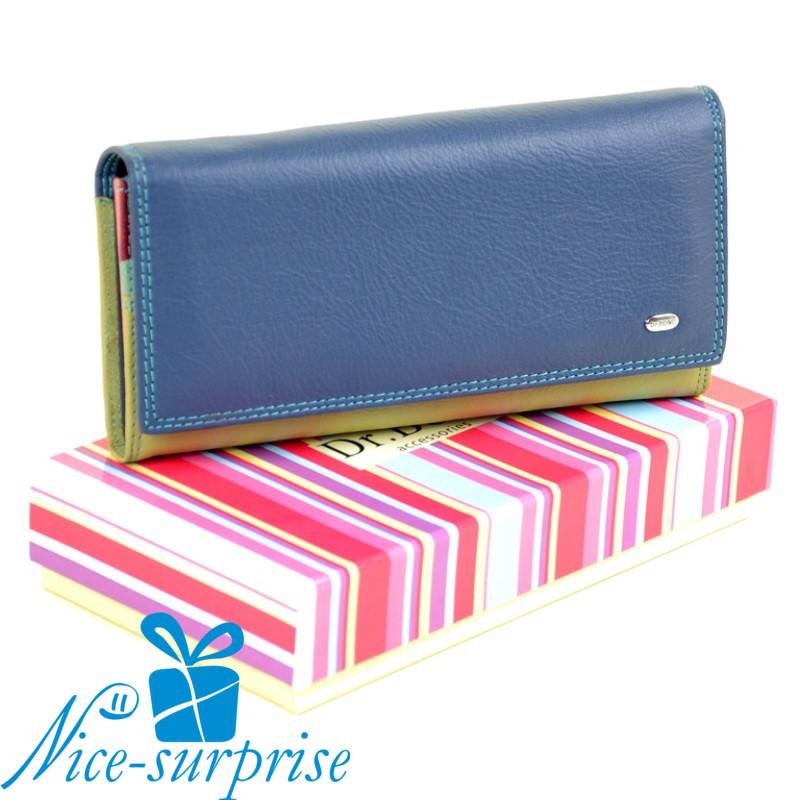 0a3b4a4eeff6 Натуральный кожаный женский кошелёк Dr. Bond W0807 blue (серия Rainbow)