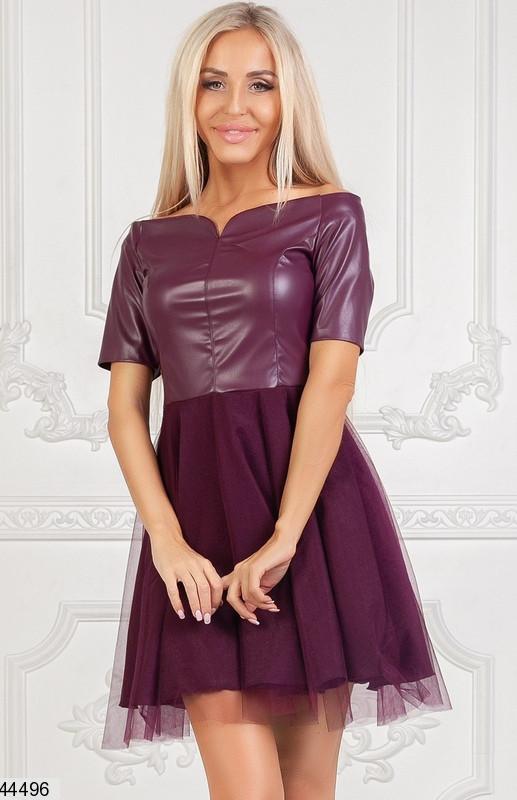 Вечернее платье на осень мини юбка клеш рукав короткий верх эко кожа подъюбник фатин марсала