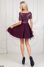 Вечернее платье на осень мини юбка клеш рукав короткий верх эко кожа подъюбник фатин марсала, фото 2