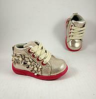 Ботинки для девочек, золотые, детская обувь
