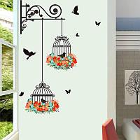 """Виниловая наклейка на стену """"Птички в клетке"""", фото 1"""