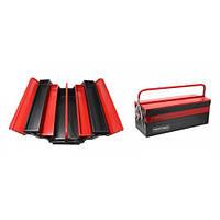 Ящик инструментальный складной, 5 отделений (555х235х200мм-габариты, 550х95х45мм-4полки, 550х200х100-1полка)