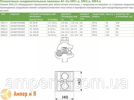 Зажим ответвительный плашечный SM2.25 Al(16-120) или Cu(6-35) ENSTO, фото 2