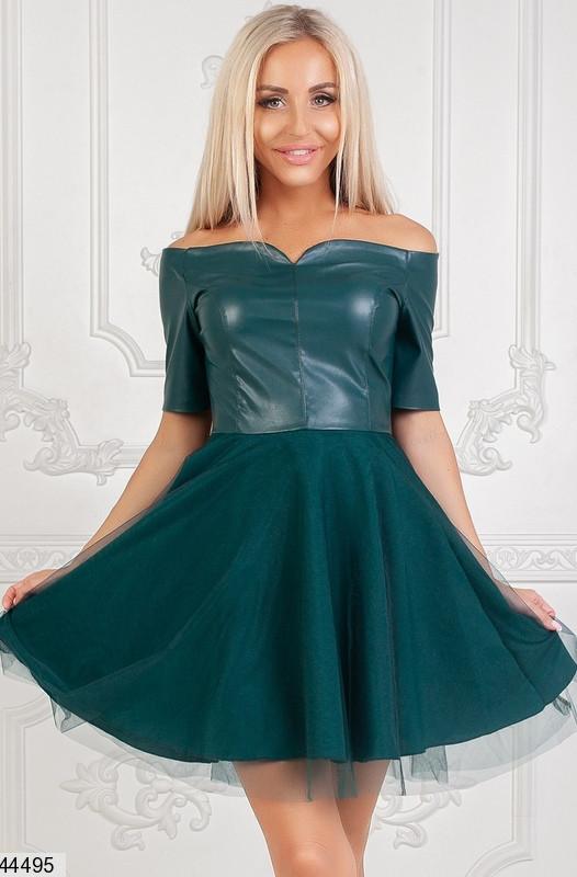 Оригинальное платье на осень мини юбка клеш рукав короткий верх эко кожа подъюбник сетка бутылка