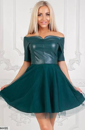 Оригинальное платье на осень мини юбка клеш рукав короткий верх эко кожа подъюбник сетка бутылка, фото 2