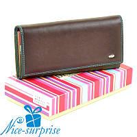 Натуральный кожаный женский кошелёк Dr. Bond W0807 coffee (серия Rainbow), фото 1
