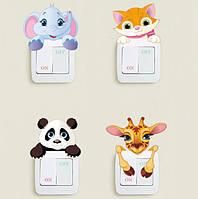 """Виниловая наклейка на включатели """"Животные"""", фото 1"""