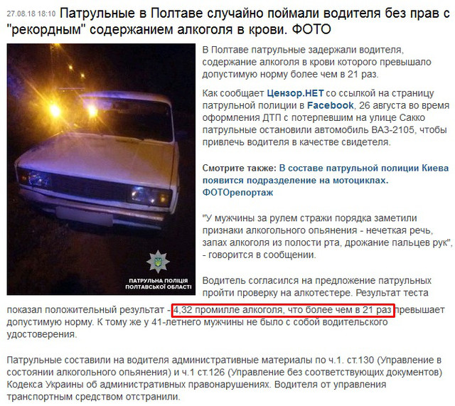 алкогольный рекорд Украины - алкотестер 4,32 промилле