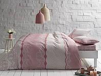 Двуспальное евро постельное белье TAC Sally pembe Ранфорс