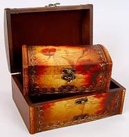 """Набор из двух деревянных шкатулок """"Сундучок Цветочное Настроение"""", 22x15x11см и 18x11x8см"""