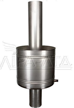 Труба c баком на 27л для топок саун ф120 1м 0,8мм нерж