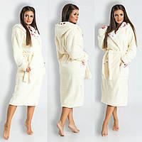 Женский длинный махровый халат с капюшоном 42-50