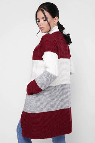 """Модный женский вязаный кардиган без застежки разноцветный """"BUDDY"""" Марсала/Светло-серый/Молоко, фото 2"""