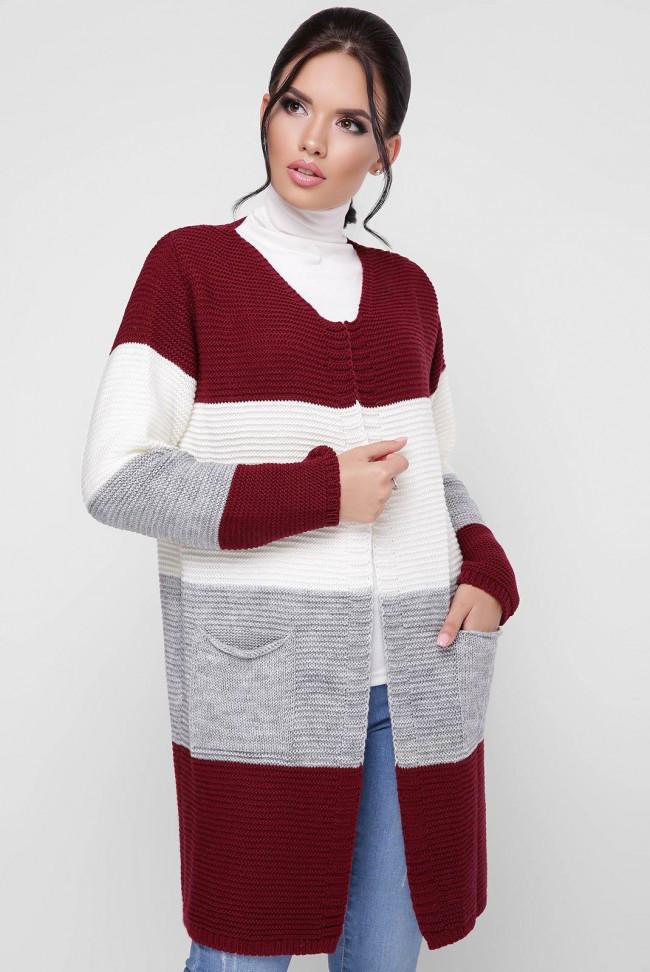 """Модний жіночий в'язаний кардиган без застібки різнобарвний """"BUDDY"""" Марсала/Світло-сірий/Молоко"""