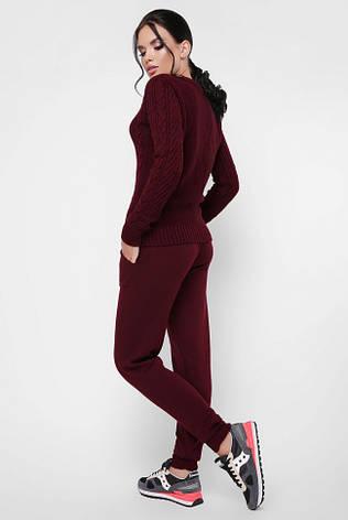 """Красивий жіночий в'язаний костюм зі штанами на манжетах """"DANA"""" марсала, фото 2"""