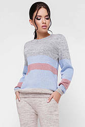 """Стильный вязаный молодежный женский костюм с брюками и свитером """"TINA"""" цвет льняной"""