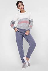"""Вязаный женский костюм со штанами и джемпером """"TINA"""" цвет джинс"""