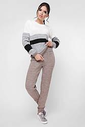"""Красивый женский вязаный костюм со штанами на манжетах и свитером """"TINA"""" цвет мокко"""