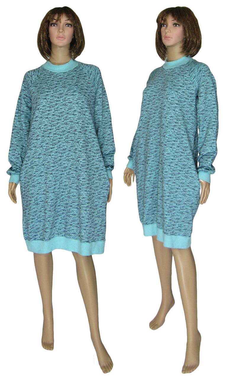 Платье женское теплое 18073 Redgen Mentol Melange вязанный трикотаж стрейч-коттон начес, р.р.58-60