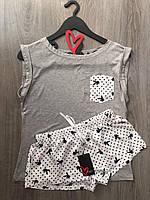 Playboy молодежная пижама шорты и футболка, вискоза.