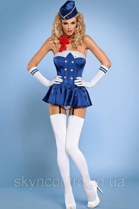 Еротичний костюм стюардеси Obsessive stewordres corset