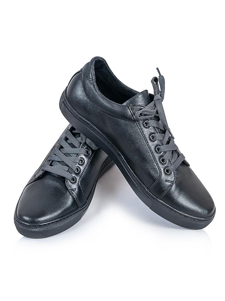 Мужские черные кожаные кеды 6242-28