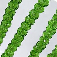 Бусины хрустальные (Рондель) 8х6мм  пачка - примерно 70 шт, цвет - зеленый прозрачный
