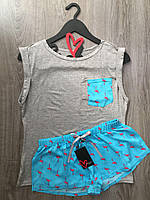 Комплект для сна майка и шорты, пижама фламинго