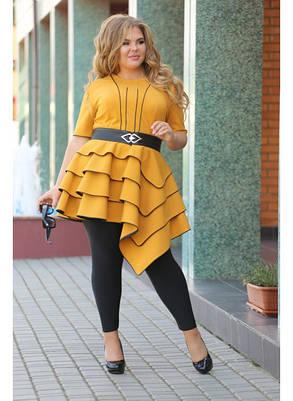 Женская блуза Royal горчица / размер 48-72, фото 2