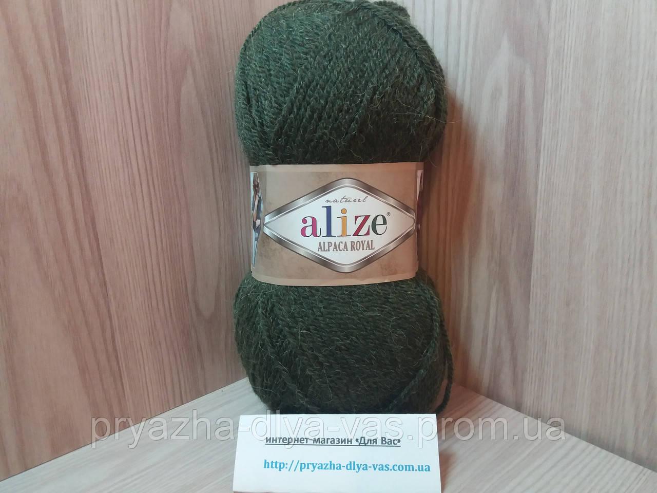 Зимняя пряжа (15%-шерсть, 30%-альпака, 55%-акрил,100 г/250 м) Alize Alpaca Royal 567 (зелёный меланж))
