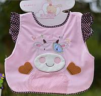 BabyLand Бархатный слюнявчик с аппликацией Теленок (розовый) 1bc49999102