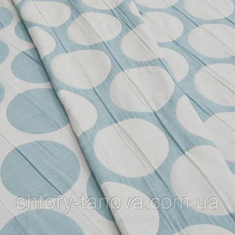 Декоративная ткань для штор, двухсторонняя, крупный горох голубой