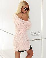 Женский очень стильный кардиган ткань полиэстер цвет пудра
