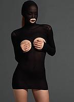 Leg Avenue Women Kink Opaque Masked Cupless Mini Dress с Bare G-String платье черное с длинным рукавом