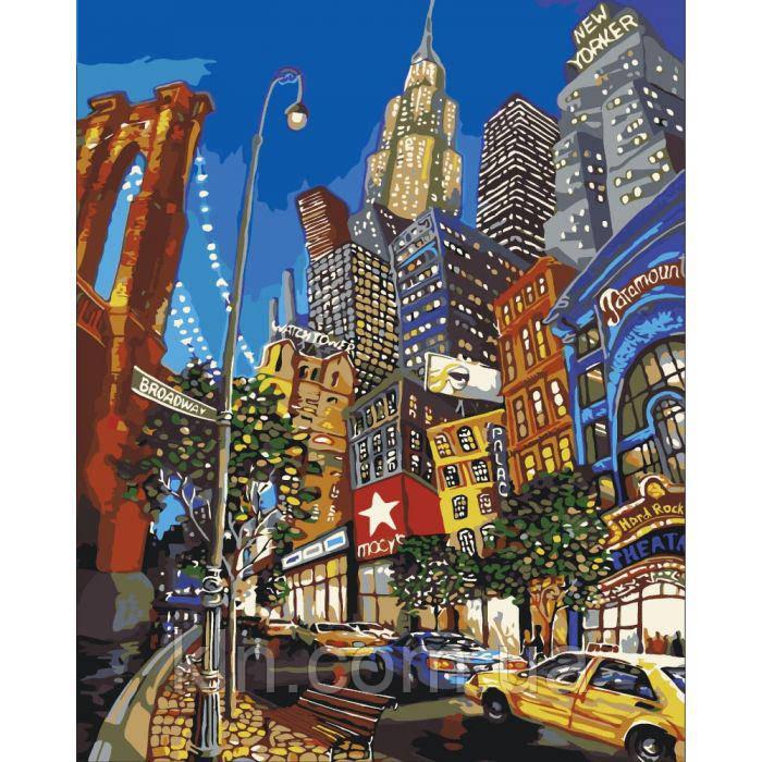 Картина по номерам без коробки 40 х 50 см Идейка Улицы Нью-Йорка КНО2172