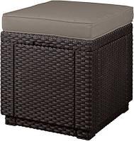 Пуф зі штучного ротангу Cube with cushion темно-коричневий (Allibert), фото 1
